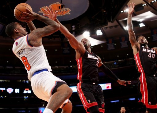 The Knicks-Heat game was the first major sports event in New York since killer superstorm Sandy struck
