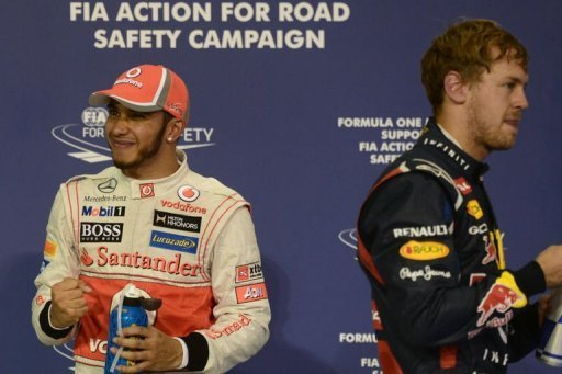 Hamilton (L) will be looking to keep out Sebastian Vettel (R), who has recorded four consecutive wins