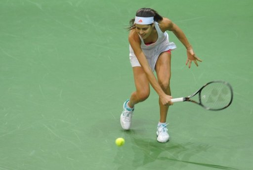 Ana Ivanovic slammed the ground in frustration several times during the match