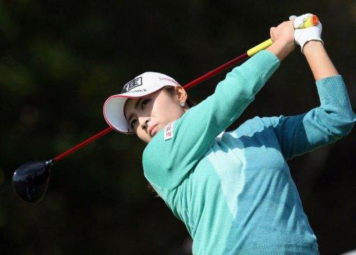 Lee Bo-Mee of South Korea tees off