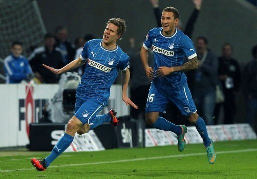 Hoffenheim's Sven Schipplock (L) Fabian Johnson celebrate after Schipplock scored