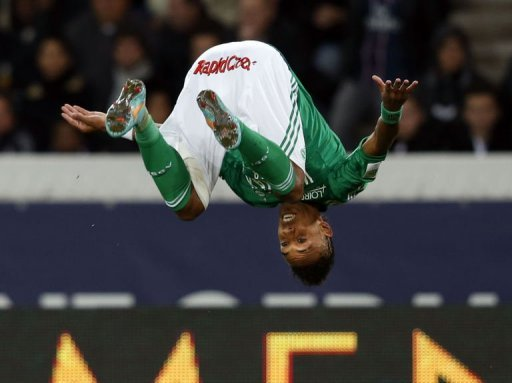 Saint-Etienne's Pierre Emerick Aubameyang celebrates after scoring