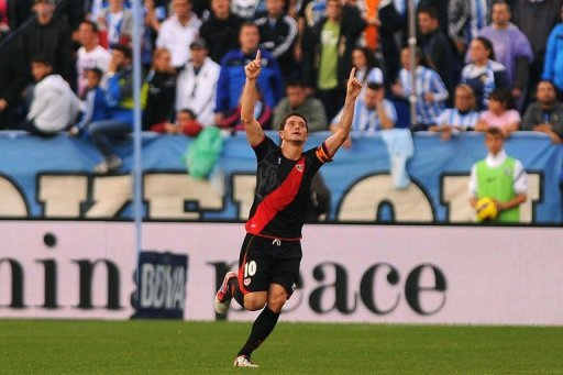Rayo Vallecano's forward Piti celebrates after scoring