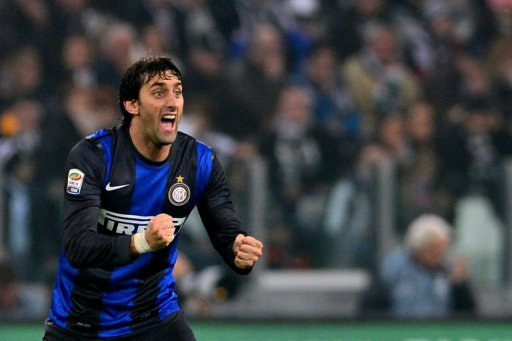 Inter Milan's forward Diego Milito celebrates after scoring a penalty