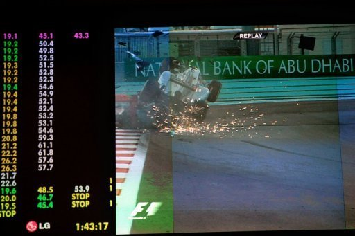 Nico Rosberg's car smashed into the rear end of Navain Karthikeyan's slower vehicle and took off