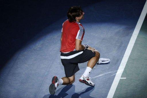 David Ferrer celebrates after winning the match