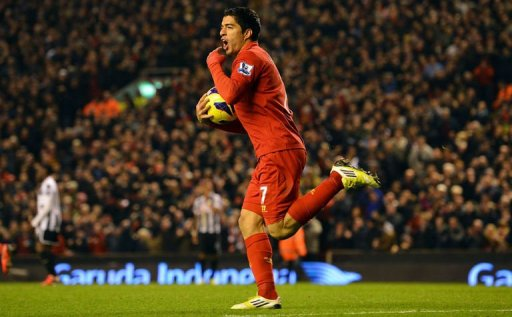 Liverpool's Luis Suarez celebrates scoring