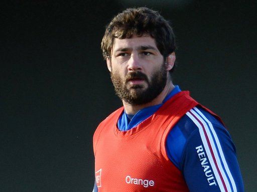 France's rugby union national team prop Yannick Forestier takes part in a training session, on November 3