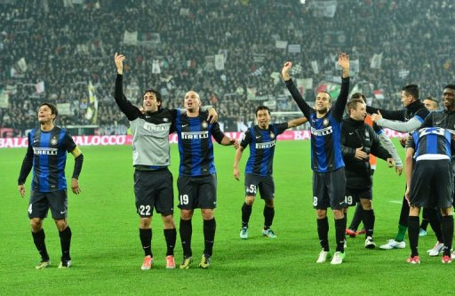 Inter Milan celebrate after winning the Italian Serie A football match between Juventus and Inter