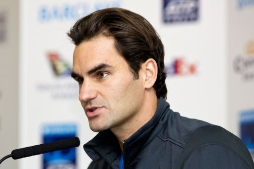 Roger Federer speaks during a press conference a day ahead of the ATP World Tour Finals
