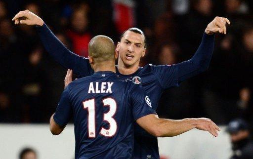 Paris Saint-Germain's Alex Costa is congratulated by team mate Zlatan Ibrahimovic after scoring