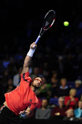 Janko Tipsarevic, pictured, was defeated by Roger Federer in two sets at London's O2 Arena on Tuesday