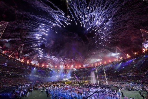 Fireworks light up the sky above the arena during the closing ceremony of the London 2012 Paralympic Games