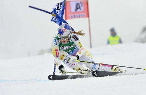 Lindsey Vonn competes in the first run of the ladies giant slalom in Soelden, Austria, in October