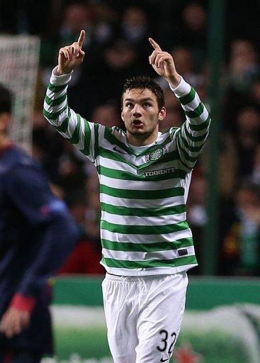 Celtic's Tony Watt celebrates scoring against Barcelona