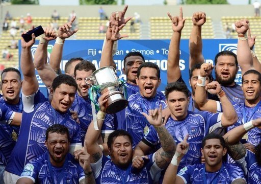 Samoa players celebrating after winning the Pacific Nations Cup in Tokyo in June