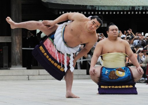 Mongolian wrestler Harumafuji (left) was promoted to the highest rank 'of yokozuna' in September