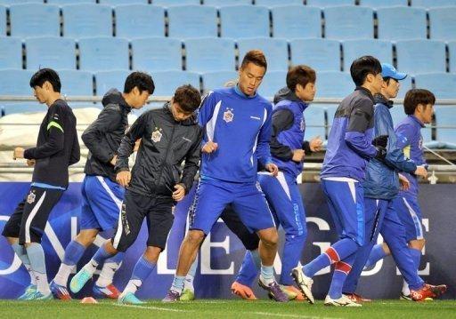 Ulsan Hyundai players training in Ulsan, South Korea, on November 9