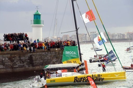 The monohull 'Bureau Valle' skippered by Louis Burton leaves the harbour in Les Sables d'Olonne, France