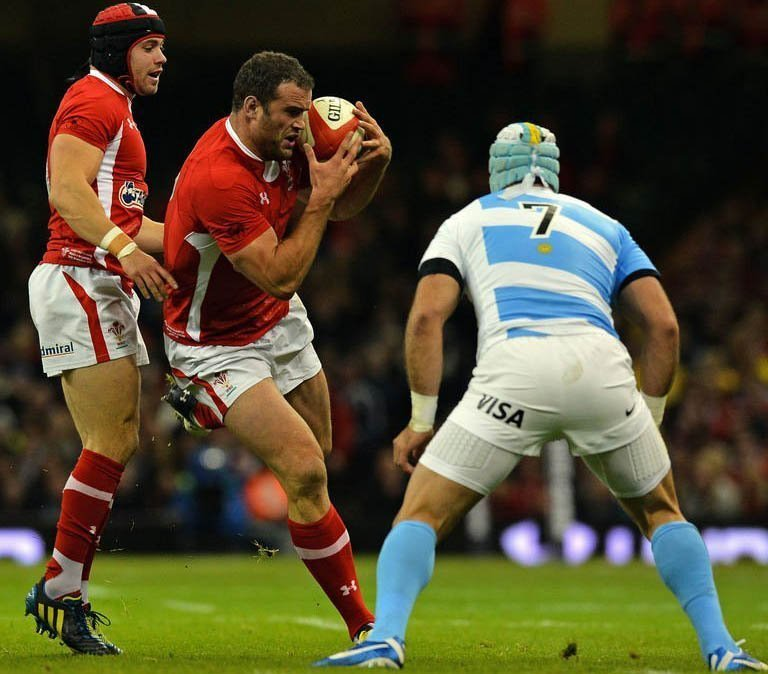 Wales' full back Leigh Halfpenny (L) and centre Jamie Roberts (2nd L) clash with Argentina's Juan Manuel Leguizamon