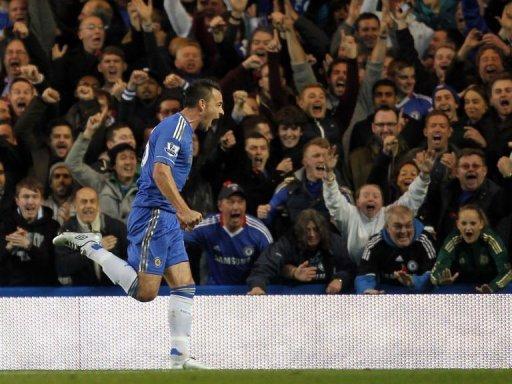 Chelsea's John Terry celebrates scoring the opening goal