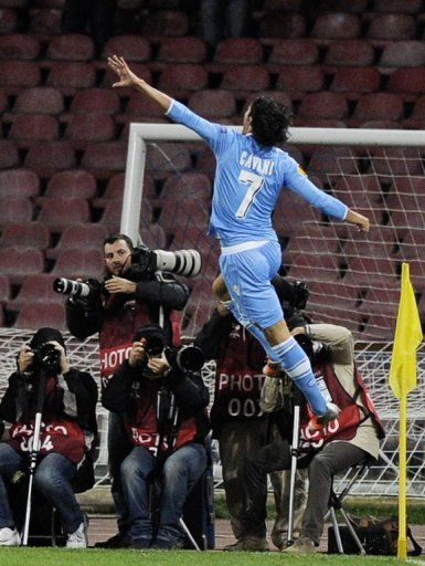 Napoli's Edinson Cavani reacts after scoring