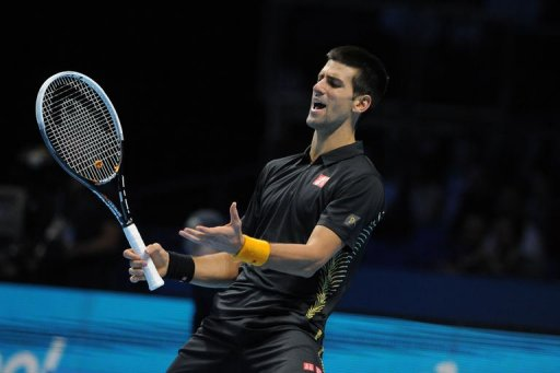 Serbia's Novak Djokovic reacts during his victory over Argentina's Juan Martin Del Potro
