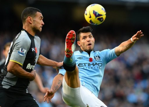 An equaliser from Sergio Aguero, pictured, cancelled out a first-half headed goal from Tottenham defender Steven Caulker