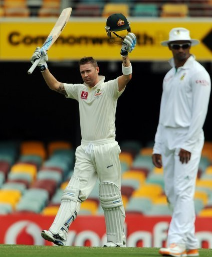 Michael Clarke scored his third century of the year after his unbeaten 329 and 210 against India at home in January