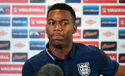 Daniel Sturridge speaks during a press conference in Manchester