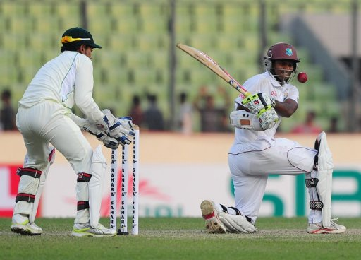 Shivnarine Chanderpaul remained unbeaten on 123 at stumps for his 26th Test century