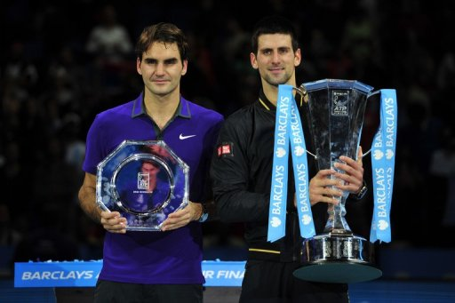 Novak Djokovic (right) won the first and last big men's tennis events of 2012