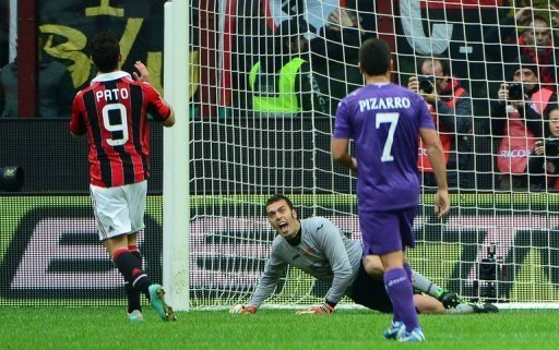 Pato (L) misses a penalty shot during the Serie A match between AC Milan and Fiorentina