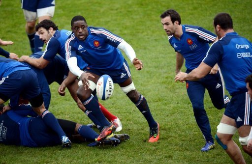 Yannick Nyanga (3rd R) will be looking to get the nod again for this Saturday's game against their bogey side Argentina