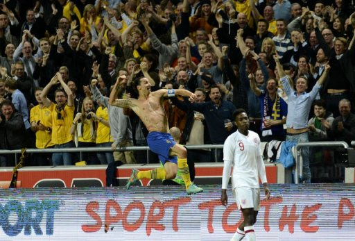 Sweden's Zlatan Ibrahimovic celebrates after scoring his 4th goal