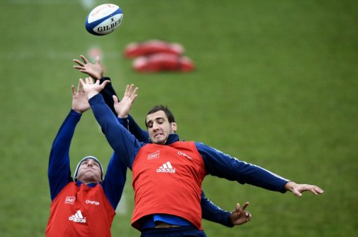 Yoann Maestri (right) grabs the ball in a line-out during a training session in Marcoussis