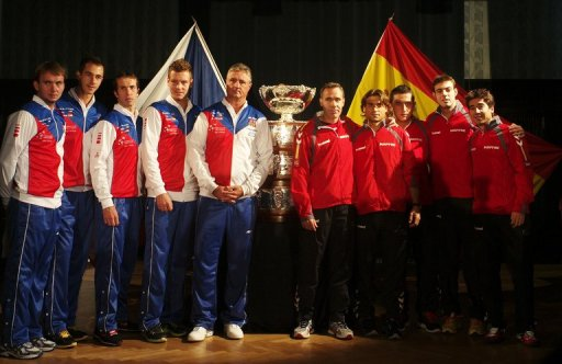 (From left) Members of Czech Republic and Spanish Davis Cup team pose for media in Prague