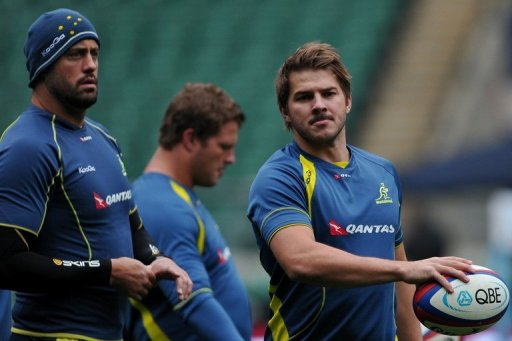 Australian Wallabies' captain, Nathan Sharpe (L) and wing, Drew Mitchell (R), pictured during a training session