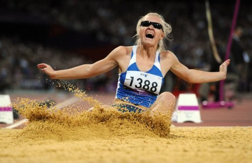 Ukraine's Iulia Korunchak competes in the women's long jump final at the  London Paralympic Games