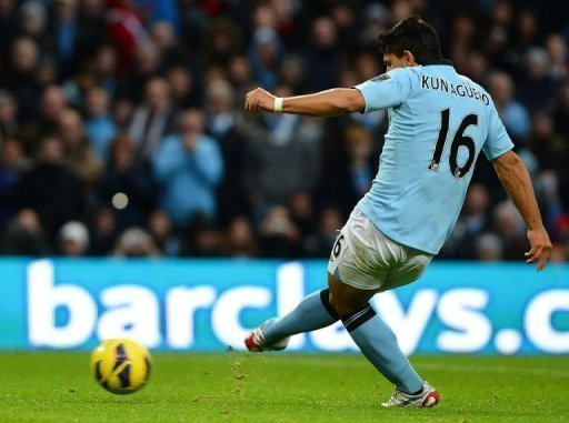 Manchester City's forward Sergio Aguero scores his team's second goal
