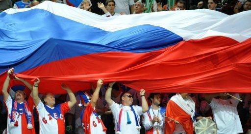 Czech fans cheer after Radek Stepanek and Tomas Berdych won thier double tennis match