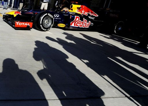 Germany's Sebastian Vettel of Red Bull racing drives out of the pits