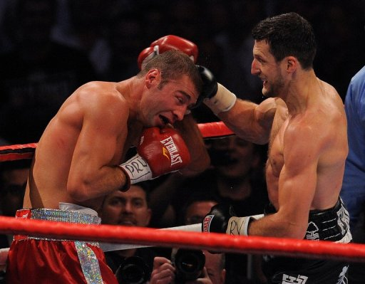 Carl Froch (R) dismantled Canada-based Romanian Lucian Bute in five rounds to win the IBF belt in May