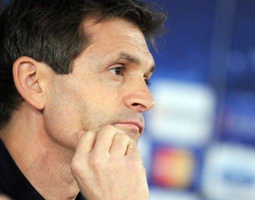 Tito Vilanova attends a press conference in Moscow