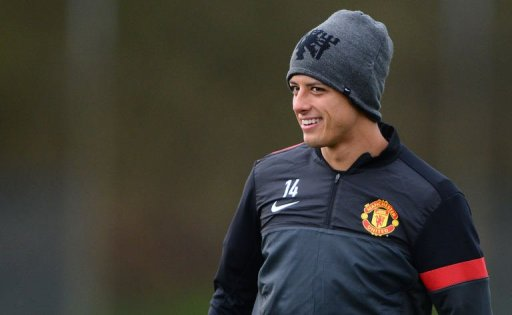 Manchester United's Javier Hernandez attends a training session at the Carrington training complex