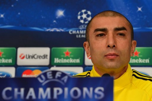 Chelsea's coach Roberto Di Matteo  attends a press conference at Juventus Stadium in Turin