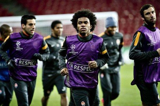 Shaktar Donetsk players train at Parken Stadium in Copenhagen