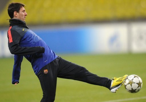 Barcelona's forward Lionel Messi during training in Moscow