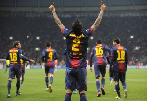 Barcelona's Daniel Alves celebrates scoring against Spartak