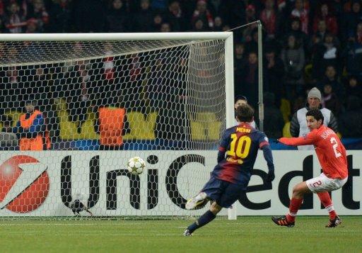 Barcelona's Lionel Messi scores